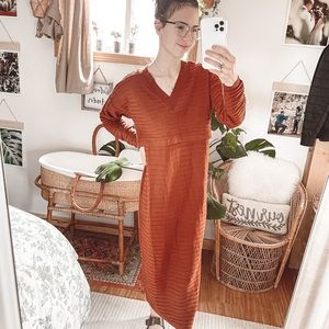 ASOS Burnt Orange Ribbed Nursing Maxi Dress